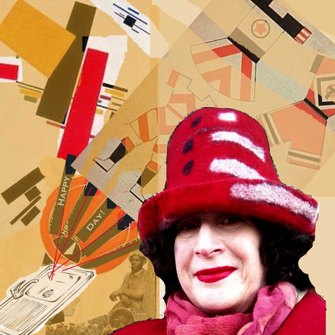 May Day Collage with Russian Constructivist Posters in background.