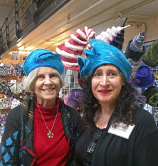 Customer Jacquie wearing her new turquoise beret. Me, on the right wearing my own felted beret