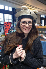 Fellow Vendor Good Water and Co with her new felted hat with animal ears at the Indie Knit and Stitch