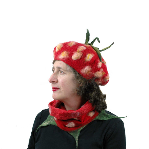 Kawaii Red Strawberry Beret and Neckwarmer