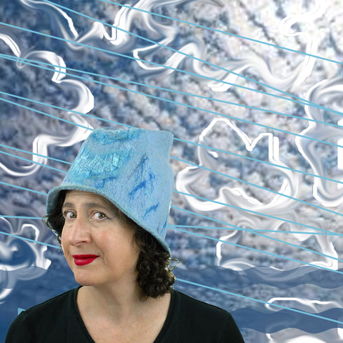 Mackeral Sky Collage with Blue Chevron Felted Hat