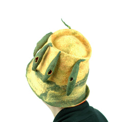 More Tree Inspired Hats - this one includes Italian Cypress Trees against a soft yellow background.