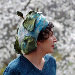 Whimsical Felted Blue Beret decorated with Five Green Stylized Trees