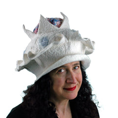 An unusual Galentine's Hat, this one white with a red and blue brain on top.