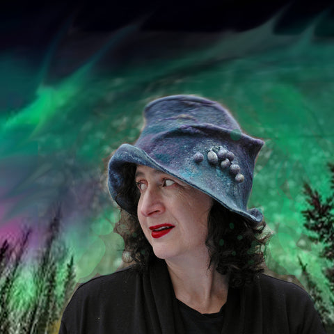 Northern Lights Collage with Jewel Toned Fedora that is Adopted.