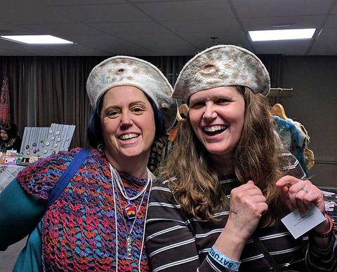 Two Sisters having fun wearing FeltHappiness felted hats at PGH Knit & Crochet Creative Arts Festival in 2019