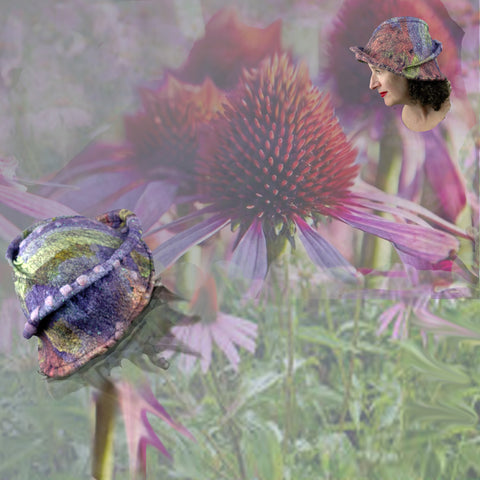 Pink Green Echinachea Collage with Bee