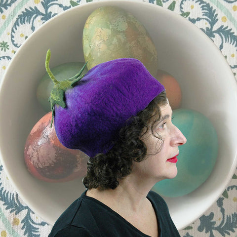 Eggplant Beret with Easter Eggs
