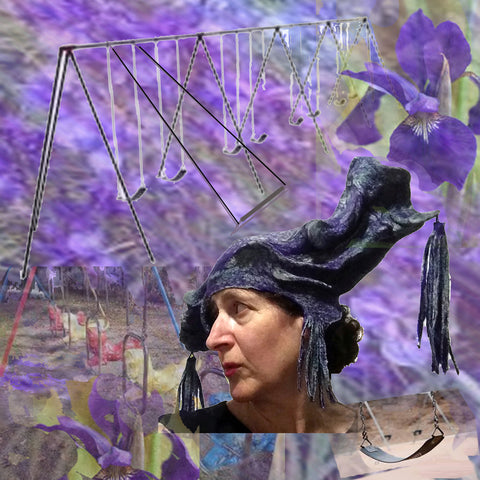 Purple Jester Fantasy Headdress with Tassels set against a vintage swingset.
