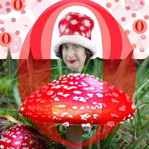 Red and White Mushroom Top Hat in a mushroom inspired collage.