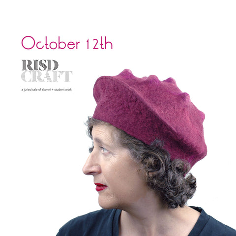 FeltHappiness Felted Raspberry Beret will be at the RISD Craft Fair October 12, 2019.