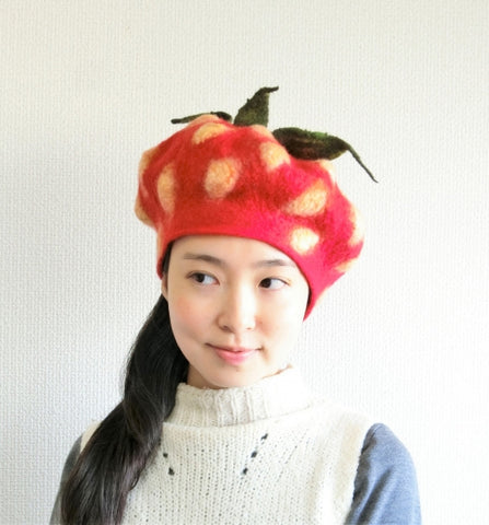 Felted Red Strawberry Beret modeled by Poppins Hat