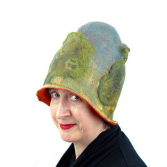Tree Inspired Landscape Hat in green and blues with an orange colored interior.