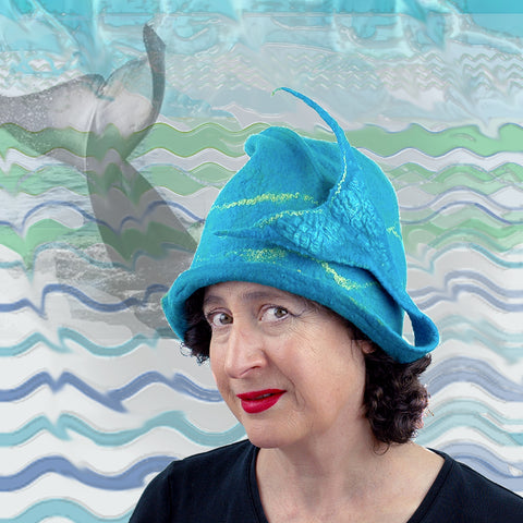 Turquoise Blue Felted Hat with Mermaid Tail