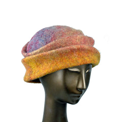 Multiocolored Felted Hat in Yellow, Pink and Blue - from Zsofia Marx's online Hat Class