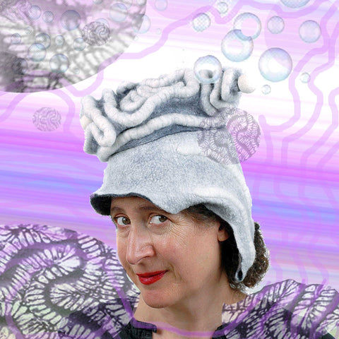 White Surrealistic Brain Hat