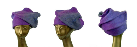 Blue Violet, Sculptural Hat as seen from three sides.