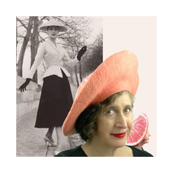 New Look Dior Photo collaged with pink grapefruit inspired felted hat.