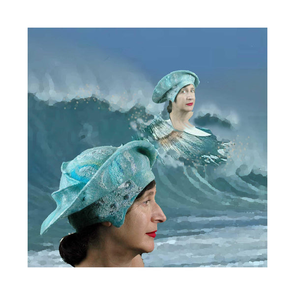 Digital Collage of Hat Surfing against a wave.