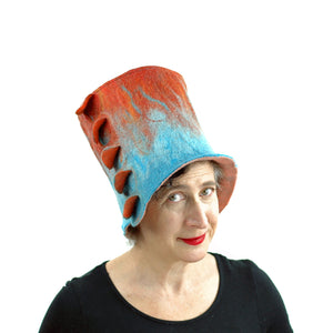 Orange and Turquoise Felted Top Hat - front view