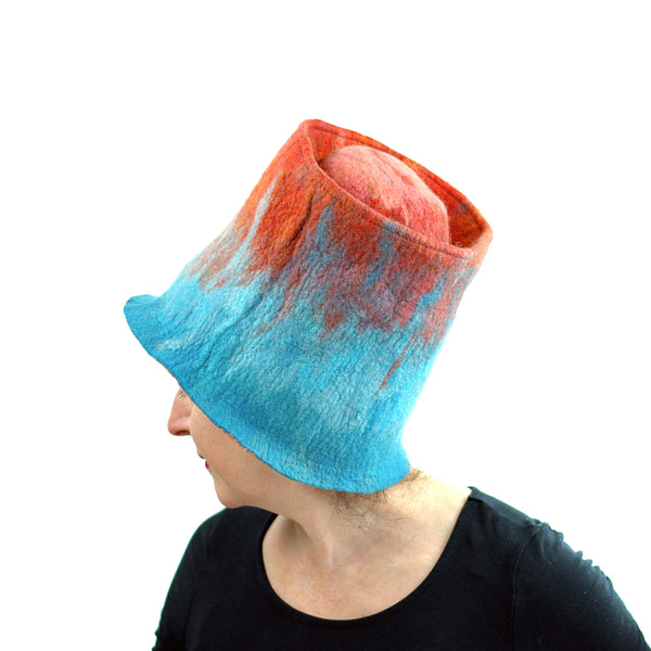 Orange and Turquoise Felted Top Hat - left side