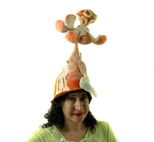 Orange Las Vegas Creamsicle Headdress with Giant Flower on Top