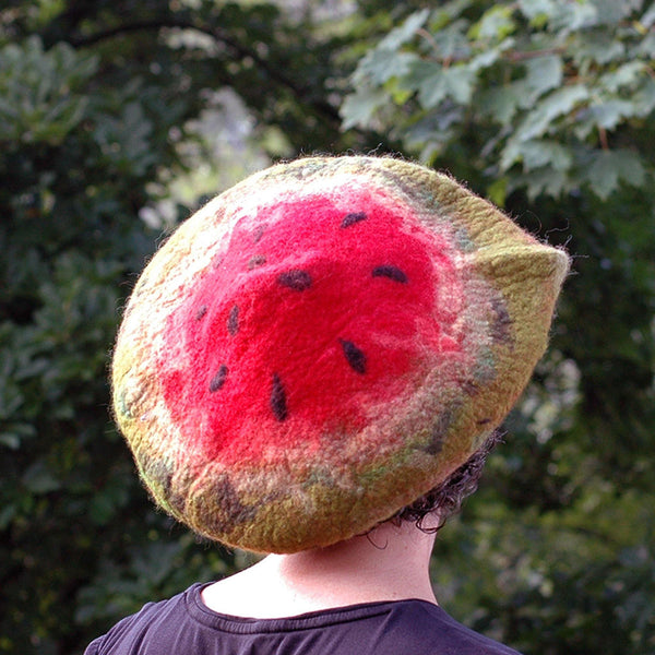 Whimsical Felted Watermelon Beret in Red and Green -back view