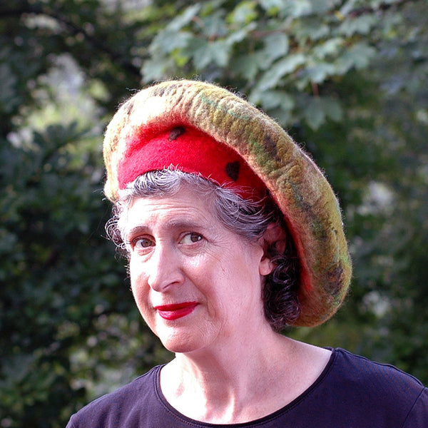 Whimsical Felted Watermelon Beret in Red and Green - three quarters view