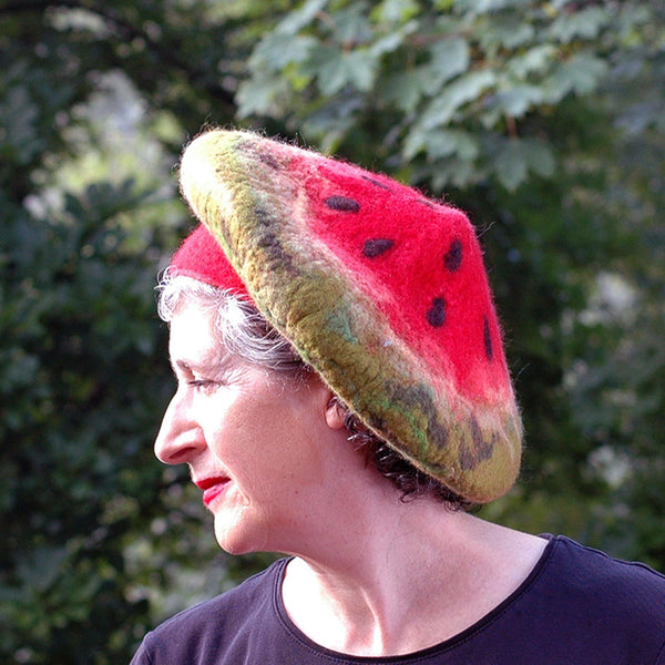 Whimsical Felted Watermelon Beret in Red and Green - side view