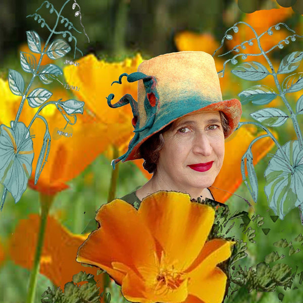 Felted Peapod Fedora Hat set amongst California Poppies and Stylized Botanical drawings of peapods.