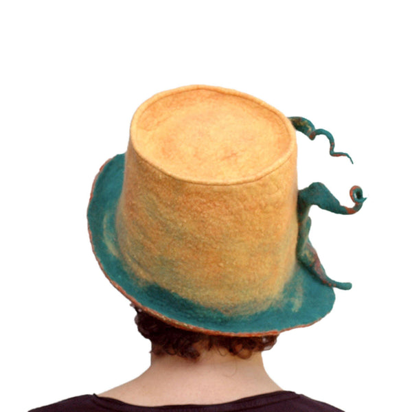 Almost Classic Yellow Fedora with Organic Shaped Pods - back view