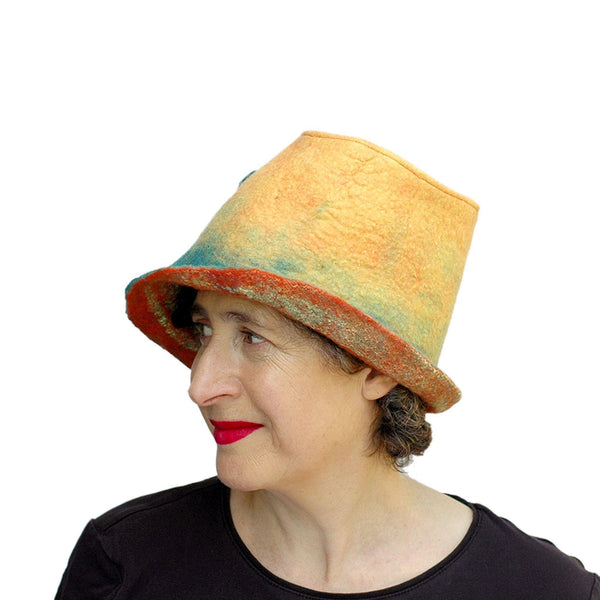 Almost Classic Yellow Fedora with Organic Shaped Pods - side view