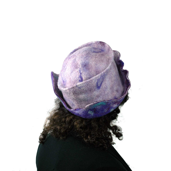 Artistic Purple Wet Felted Hat - back view