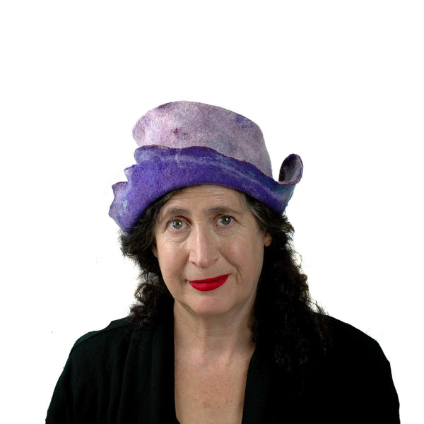 Artistic Purple Wet Felted Hat - front view