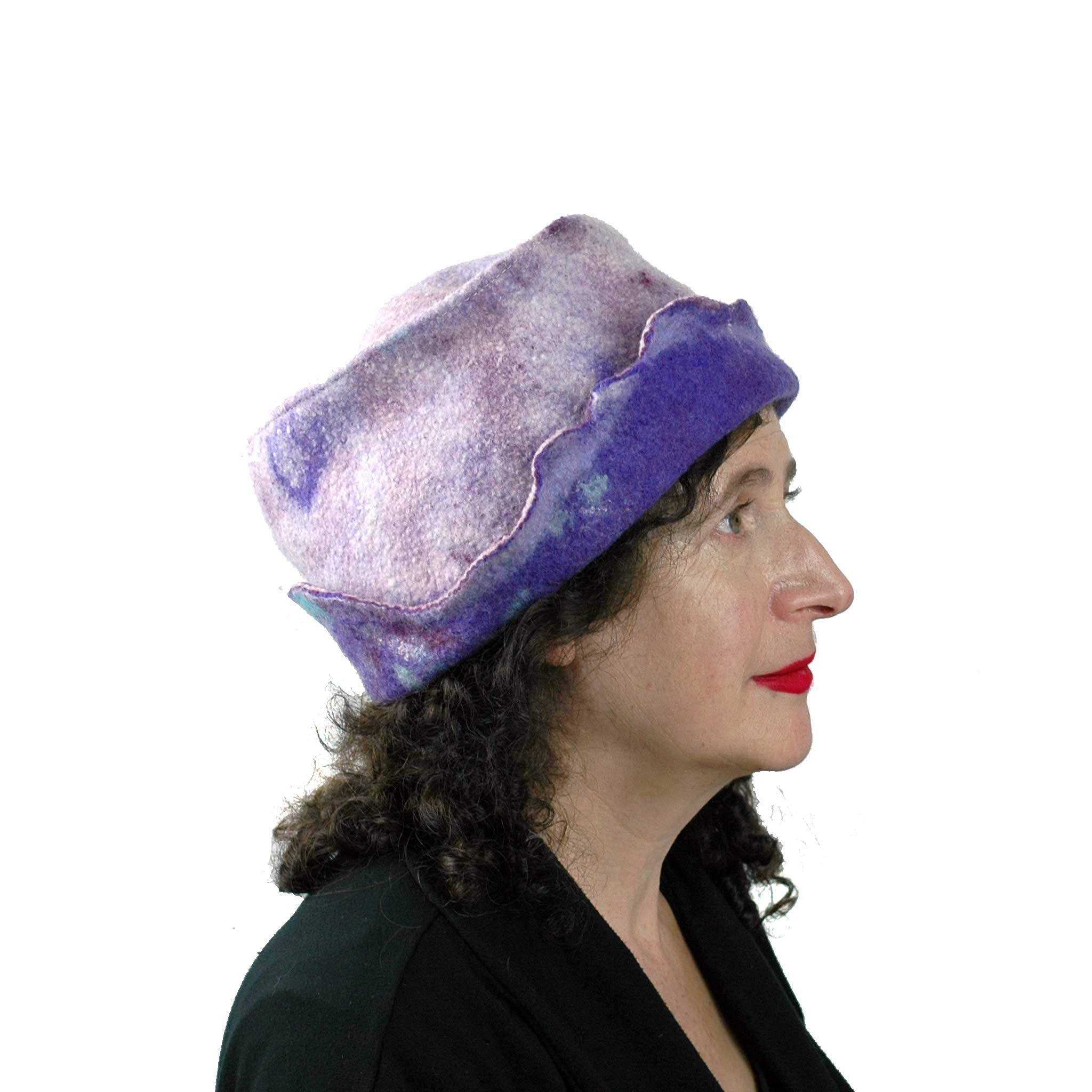Artistic Purple Wet Felted Hat - side view