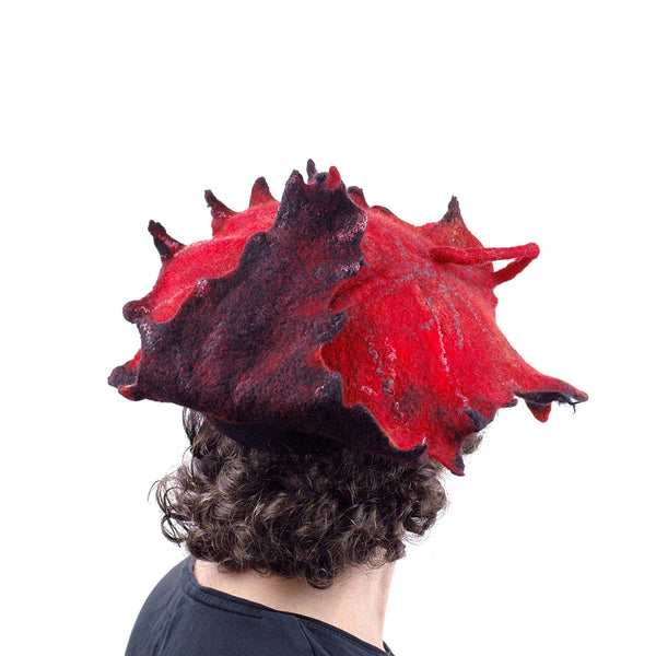 Autumn Inspired Leaf Hat in Red and Black - back view