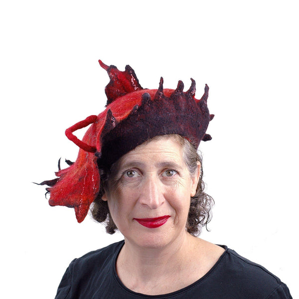 Autumn Inspired Leaf Hat in Red and Black - front view