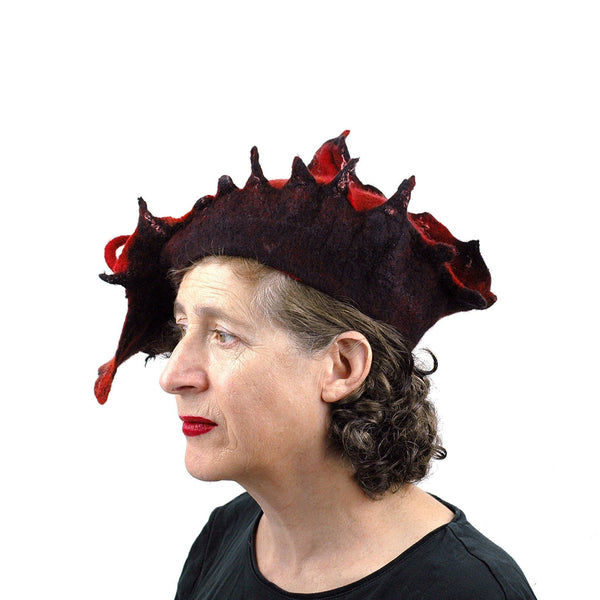 Autumn Inspired Leaf Hat in Red and Black - side view