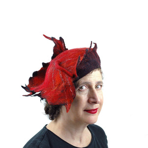 Autumn Inspired Leaf Hat in Red and Black - three quarters view
