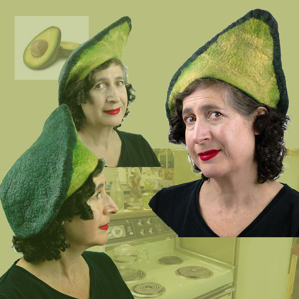 Felted Avocade Beret with retro kitchen collage and sliced avocado.