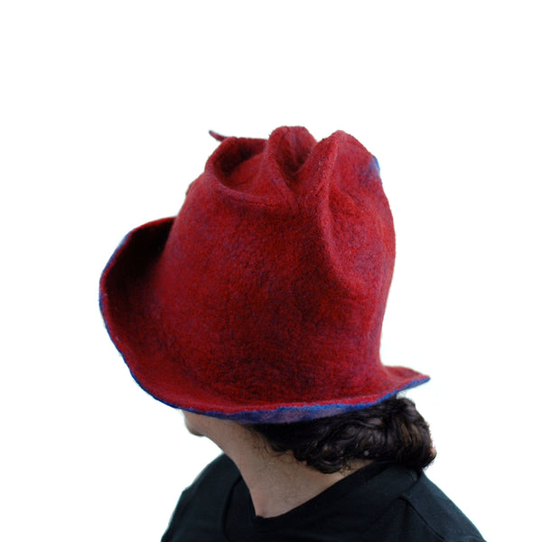 Big Brimmed Red and Blue Felted Hat - another back view
