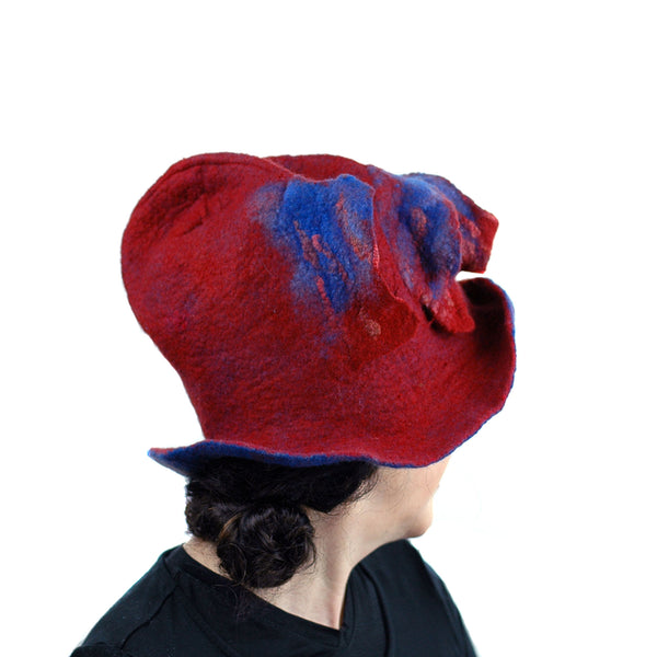 Big Brimmed Red and Blue Felted Hat - back view