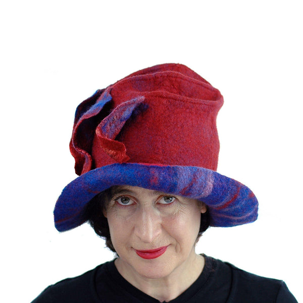 Big Brimmed Red and Blue Felted Hat - front view