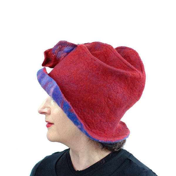 Big Brimmed Red and Blue Felted Hat - side view 2