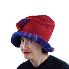 Big Brimmed Rea and Blue Felted Hat