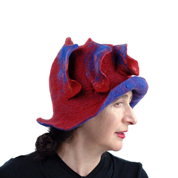 Big Brimmed Red and Blue Felted Hat - side view 3 - with the felted 'Waves' showing on the side.