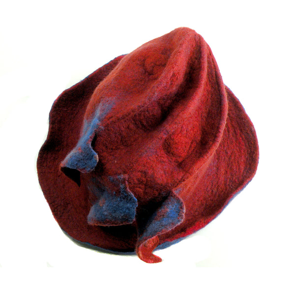 Big Brimmed Red and Blue Felted Hat - top view