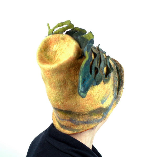 Big Tree Inspired Felted Hat - back view