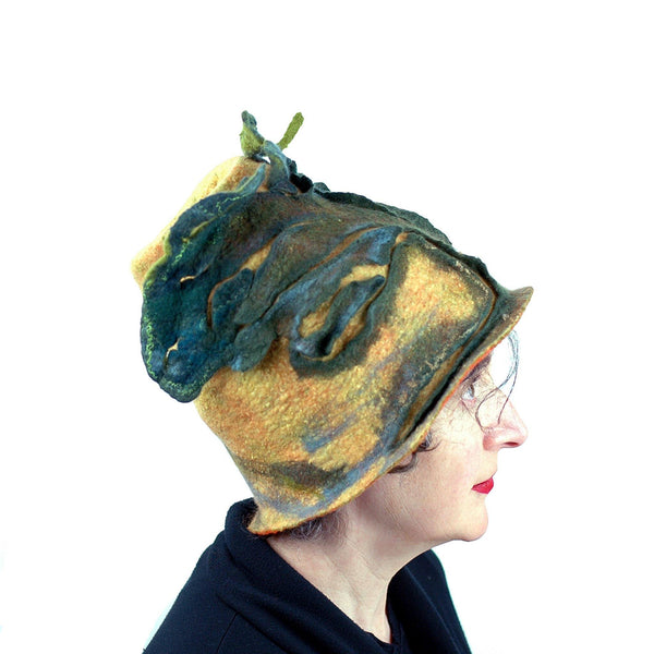 Big Tree Inspired Felted Hat - side view