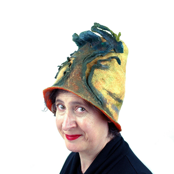 Big Tree Inspired Felted Hat - three quarters view